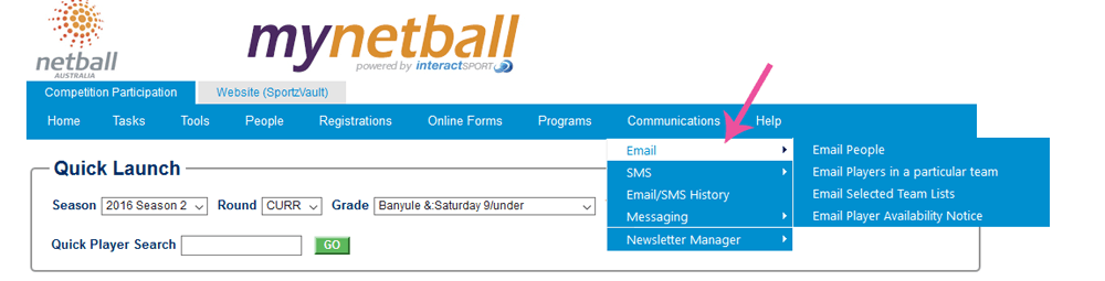 MyNetballEmail